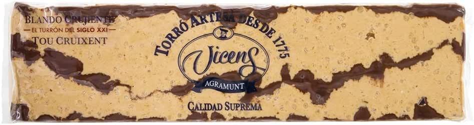 Turrón Blando Crujiente con Chocolate alargado 300gr: Amazon.es ...
