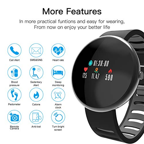 ROADTEC Smart Watches Men Women Fitness Tracker Watch Heart Rate Monitor,IP67 Waterproof Activity Tracker Calorie Pedometer Sleep Monitor Android (Black+Gray) by ROADTEC (Image #2)
