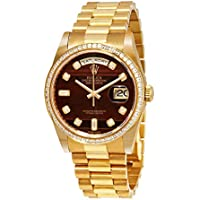 Rolex Day-Date Chocolate Bulls Eye Diamond Dial Automatic Men's 18kt Yellow Gold President Watch 118398CHBEDP
