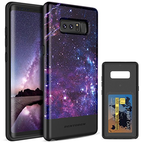 Galaxy Note 8 Case BENTOBEN Nebula Space Wallet Shockproof TPU Bumper Slim Protective Case Purple