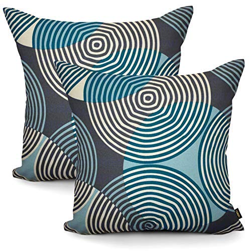 ARRIBA, 18x18 Inches | 45x45 Cms, Pack/Set of 2 Pcs, Circle Rings Printed Standard Size Pure Cotton Accent Decorative Modern Canvas Throw Pillow Covers | Cushions Covers for Home Sofa Bedding.(Grey)