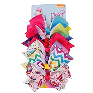 Newtrend Bows Everydays Jojo Bow 8 cm with Unicorn and Rainbow pattern Beautiful Hair Accessories for Girls