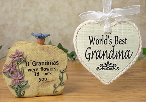 Grandma Stone - World's Best Grandma Ornament - Gift Set for Grandmother for Mother's Day - Small Garden Rock