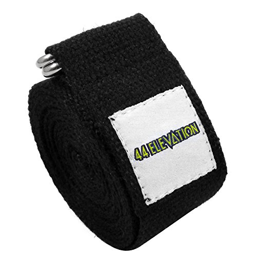 44 ELEVATION Yoga Strap With Metal D Ring Durable Flat Wide Thick & Reinforced Cotton Webbing Improve Stretching Facilitate Workouts & Soothe Muscle Tension (Black)