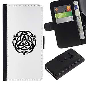 Be Good Phone Accessory // Caso del tirón Billetera de Cuero Titular de la tarjeta Carcasa Funda de Protección para Samsung Galaxy S3 MINI NOT REGULAR! I8190 I8190N // Spiritual Geometry Symbol Art