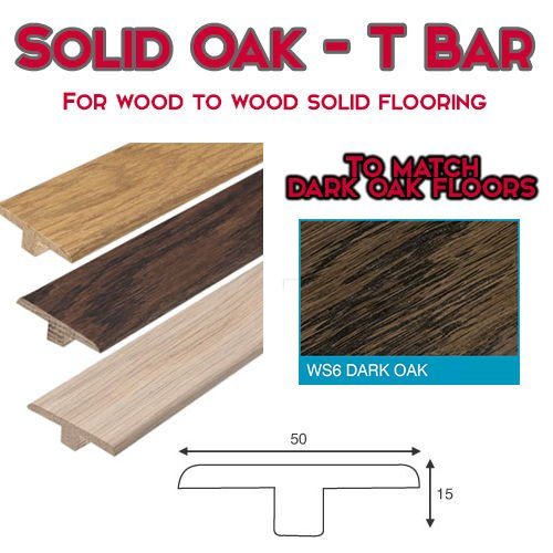 Dark Chocolate Oak T Section Expansion Transition Threshold Door Bar for 14mm to 18mm floors – 0.9m