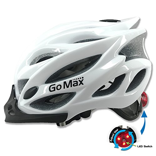 GoMax Aero Adult Safety Helmet Adjustable Road Cycling Mountain Bike Bicycle Helmet Ultralight Inner Padding Chin Protector and Visor w/Rear LED Tail Light Adjust (Shiny White with LED, Medium)