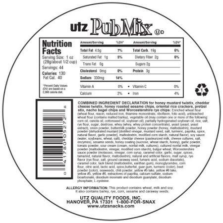Utz, Pub Mix, Barrel, 44 oz.