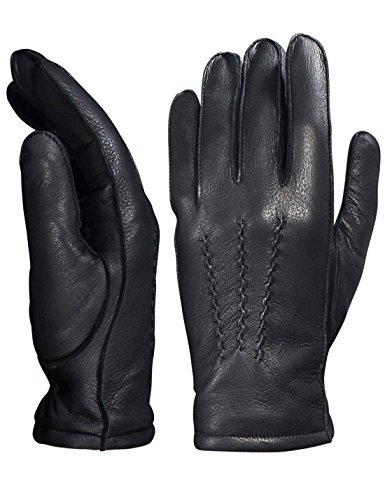 YISEVEN Men's Deerskin Leather Dress Gloves Fleece Lined Three Points Short Cuffs Genuine Luxury Soft Hand Warm wool Heated Fur Lining Winter Driving Motorcycle Work Xmas Gifts, Black 8.5''/S by YISEVEN