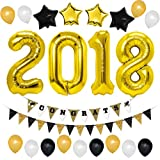 Unomor 2018 Graduation Party Decorations with Gold 2018 Balloons, Graduation Banner Gold Black and White Balloons for Events