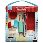 Handstand kitchen 17-piece introduction to real baking set with recipes for kids 3 the perfect set for every child that is ready to explore the fun of real baking - the introduction to baking set for kids from handstand kitchen complete 17-piece set includes everything needed to bake an assortment of tasty treats with your children comes with 1 spatula, 1 pastry brush, 1 mixing spoon, 1 silicone loaf pan, 6 silicone baking cups, 1 rolling pin, 1 whisk, and 5 recipe cards