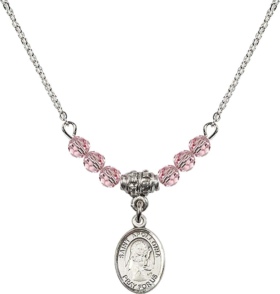 Bonyak Jewelry 18 Inch Rhodium Plated Necklace w// 4mm Light Rose Pink October Birth Month Stone Beads and Saint Apollonia