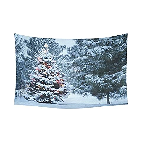Landscape Nature Scenery Wall Art Home Decor, Snow Covered Christmas Tree in Winter Tapestry Wall Hanging 90 X 60 - Christmas Tree Tapestry
