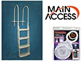 MAIN ACCESS Above Ground Pool Ladder Steps 52 inches Easy Deck Steps Bundle with SmartLite Rechargeable Floating Underwater LED Swimming Pool Light