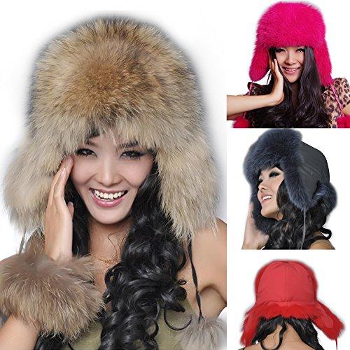 SPRINGWIND 100% Real Fox Fur Hat Cap Headwear Warm Bomber Ushanka Valentines