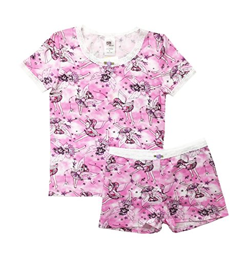Esme Girl's Sleepwear Short Sleeve/Boxer Shorts Pajama Set 14 Fairy