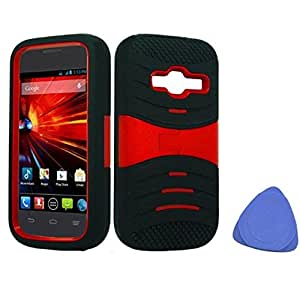 ZTE Concord II Z730 Hybrid Hard Gel Protector Cover With Stand A - Black and Red + Tool