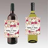 12 Rose Floral Design Wine / Beer Bottle Labels Easy to Use Self Stick Labels