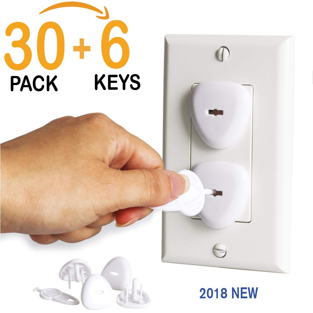 Outlet Covers, Baby Proofing Outlet Plugs, Electrical Wall Outlet Cover for Baby Safety (30 Plugs + 6 Keys)