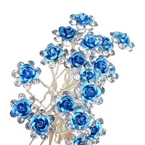 20pcs Crystal Rose Flower Wedding Bridal Hair Clips Pins Bridesmaid Jewelry Hair Accessories for Women Party Banquet, Blue