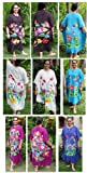 Batik Caftan Kaftan Hand Painted Hawaiian Aloha Floral Full Size Swimsuit Cover Up in Powder Blue - XXL