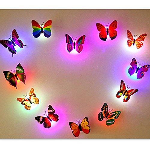Bluelover Farben Andern LED Blinkt Bunte Schmetterling Nacht Leichte Dekorative Leuchten 3D Aufkleber Home Decor