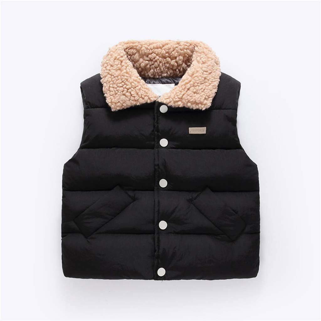 Padded Cotton Winter Jacket Outdoor Clothes Lanhui Boys Girls Solid Color Pocket Thick Warm Vest