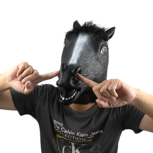 Funny Black Man Halloween Costumes (Horse Head Mask - Black Horse by Monstleo, Halloween Costume Party Horse Head Toy Mask for Masquerade/Birthday Parties,Carnival Decorations)