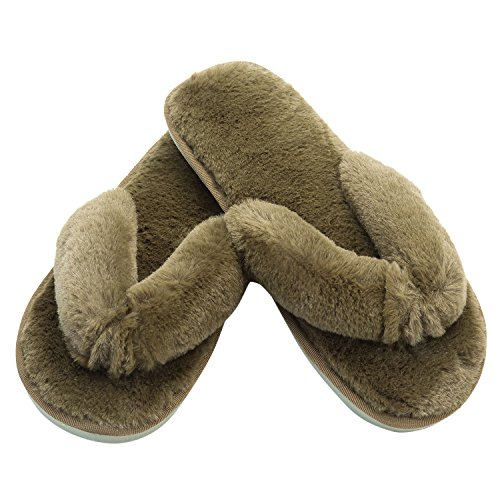 JOINFREE Women's Fluffy Slip On Slippers Fur Lined Clog Furry House Slipper Army Green 9.5-10.5 M (Women In The Army)