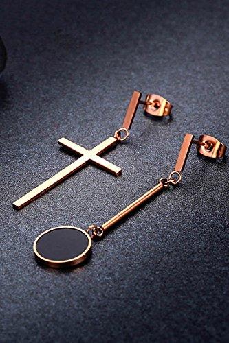 (KENHOI Beauty christian cross rose gold-plated fashion long black steel earrings earings dangler eardrop earrings women girls couple lover neutral )