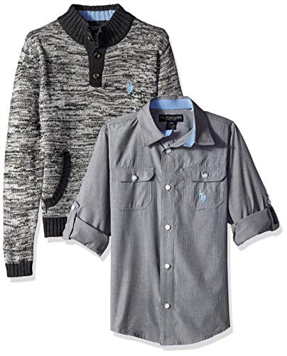 U.S. Polo Assn. Boys' Little Sweater and Short Sleeve Woven Shirt Set, Pullover Patterned Multi Plaid, ()