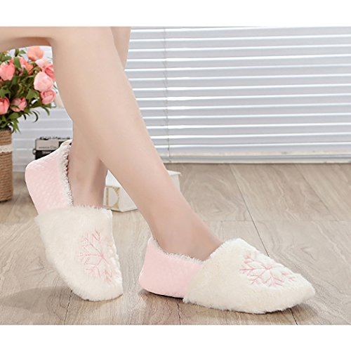 Anti Warm L Printed Slippers Skid Slippers Slippers Snowflake Pink Zoylink Womens Winter Christmas qfRg6SwZ