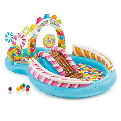 Kids-Inflatable-Pool. This Kiddie Blow Up Above Ground Swimming Pool is Great for Toddlers, Children to Have Outdoor Water Fun with Slide, Toys, Floats. Candy Zone Play Center Baby Swim.
