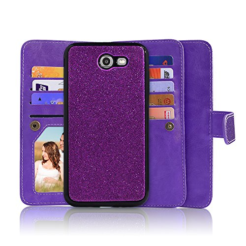 Price comparison product image For Samsung Galaxy J7/Sky Pro/J7 Prime/J7V/J727/Perx/Halo Luxury 8 Card Slot Detachable Magnetic Glitter Flip Wallet with Wrist Strap (Ion Purple)