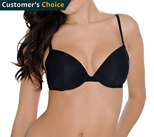 TOMAS MARSHAL Push up Bras for Women - Everyday Padded Underwire Deep Plunging Balconette Bra 34B ()