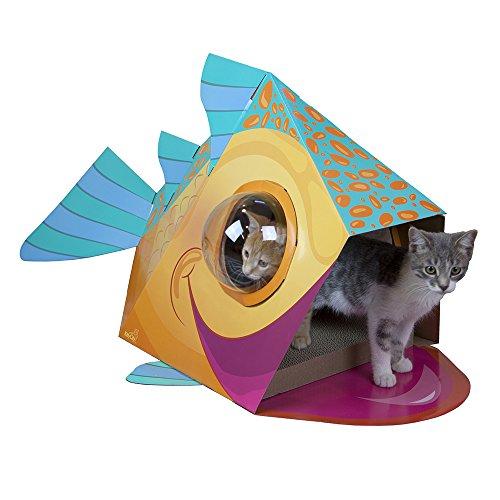 Kitty City Bubble Window Cat Cubby, Large Scratcher with Catnip, Cat Toys (Bubble Catnip)