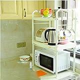 Hyun times Kitchen Microwave Shelf Shelf Cooking Utensil Oven Rack Single Layer Storage Supplies Stainless Steel Pot Holder