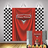 Daniu Racing Competition Champion Backdrop red Banner Victory Background Car Racing Check Flag Backdrop boy Birthday Party Photography Background Decoration Supplies Studio Party Booth backdrops 6x5FT