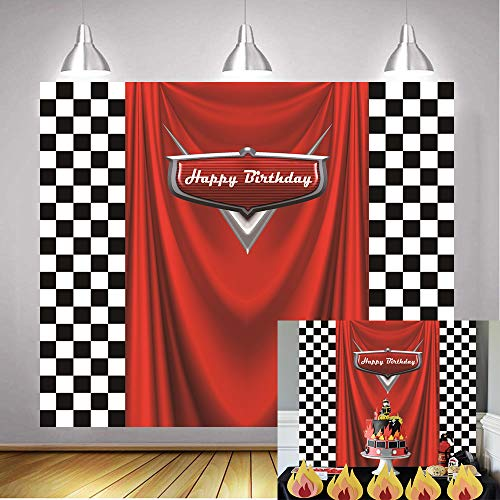 Birthday Check - Daniu Racing Competition Champion Backdrop red Banner Victory Background Car Racing Check Flag Backdrop boy Birthday Party Photography Background Decoration Supplies Studio Party Booth backdrops 7x5FT