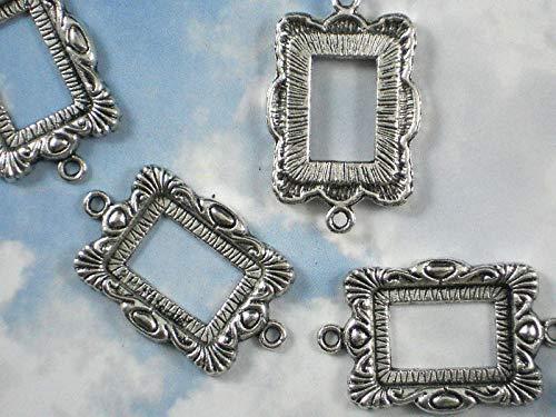 Pendant Jewelry Making 6 Bezel Picture Frame Connectors Links Silver Tone Open Back Pendants