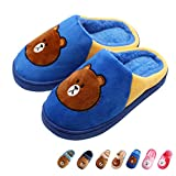 Boy's & Girl's Cute Animal House Slippers Bear Bunny Fuzzy Indoor Shoes Warm Winter Home Slipper, Anti-Skid Sole (Toddler/Little Kid/Big Kid) (Little Kid 1.5-2.5M, Blue)
