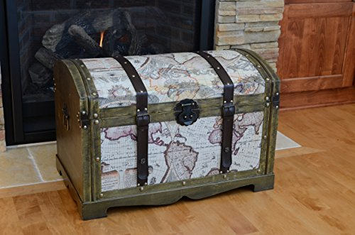 Victorian Ancient World Map Wooden Trunk Wood Treasure Chest - Medium by Styled Shopping (Image #1)