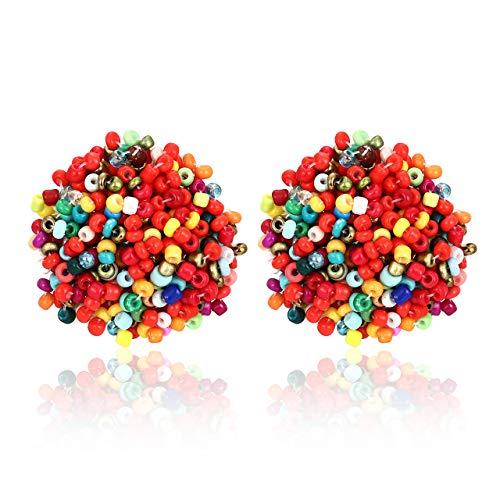 ZITULRY Beaded Stud Earrings Bohemian Statement Cluster Rainbow Seed Beads Big Round Piercing Post Earrings (Rainbow 1)