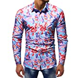 Ximandi Autumn Shirts Men's Feature Print Casual Slim Long Sleeve Shirt Top Blouse