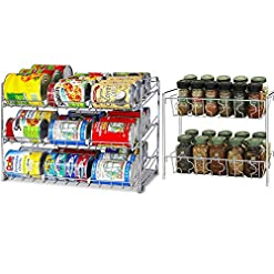 Kitchen SimpleHouseware Stackable Chrome Can Rack + 2 Tier Spice Rack spice racks