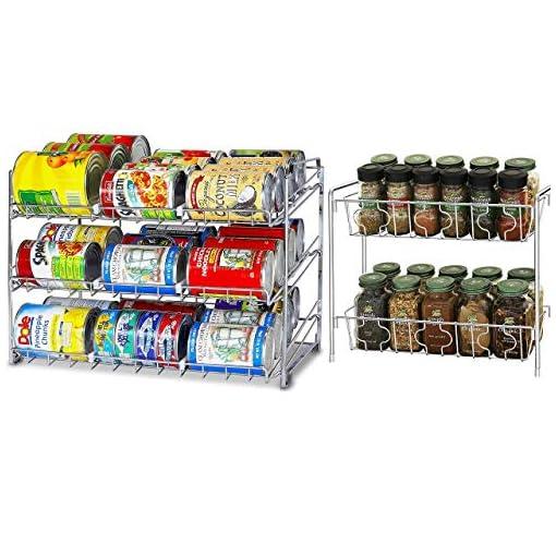 Kitchen SimpleHouseware Stackable Chrome Can Rack + 2 Tier Spice Rack spice racks