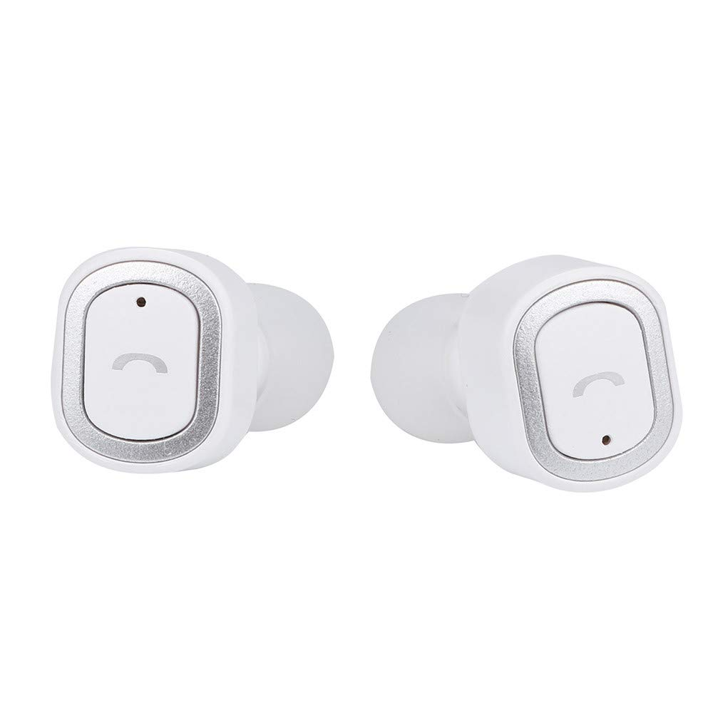 Leless Luxury Mini Twins Wireless Bluetooth Headphones Stereo Headset In-Ear Earbuds with MIC (White)