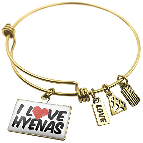 Expandable Wire Bangle Bracelet I Love Hyenas - NEONBLOND