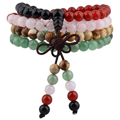 (Nupuyai 6mm 108 Healing Gemstone Mala Prayer Beads Stretch Bracelet Necklace for Men and Women)
