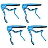 Neewer® 4 Pack Single Handed Zinc Alloy Guitar Capo Quick Change for Acoustic 6-String and Electric Guitars(Blue)
